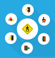 flat icon exit set of exit directional open door vector image vector image