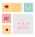 flat icon heart set of save love celebration vector image vector image