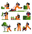 gardening isolated icons gardener with water can vector image