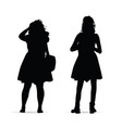 girl figure standing silhouette set on white vector image vector image