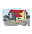 hand drawn cottage modern private residential vector image
