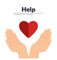 hands with heart help vector image vector image
