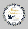 happy holidays peace on earth floral circle vector image vector image