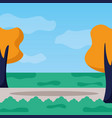 landscape tree road grass nature vector image vector image