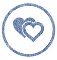love hearts rounded fabric textured icon vector image vector image