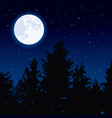moon in night sky and forest trees vector image