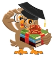 Owl teacher holding gift book Book is best gift vector image