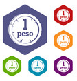 peso icons set hexagon vector image vector image