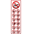 Prohibited symbols Sticky label for supermarkets vector image vector image