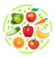 round print with vegetables and fruits vector image