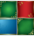 set - bright cards with golden frames vector image