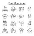 set donation charity line icons contains vector image