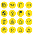 set of 16 new year icons includes flag point vector image vector image
