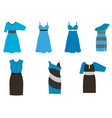 set of dresses in different styles in four colors vector image vector image
