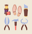 shoe repair tools set sharp scissors for cutting vector image vector image