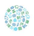 symbols of fabric feature round design template vector image