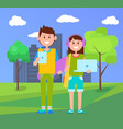 teenagers with laptops poster vector image
