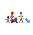 traveling family with baggage cart cartoon vector image vector image