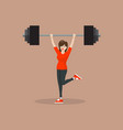 woman lifting barbell vector image