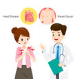 woman see doctor about her chest pain vector image vector image