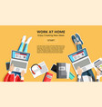 work at home business banner with people vector image vector image