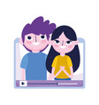 young boy and girl in video content blogger social vector image