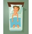 man asleep in bed vector image