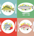 A set of grill prepared fish with lemon and vector image