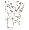 A simple sketch of a boy sleeping soundly vector image vector image