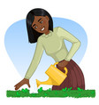 african american woman watering a bed with can vector image