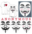 Anonymous Faces in Black Color and T-shirts vector image vector image