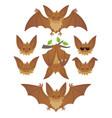 bat in various poses flying hanging brown bat vector image vector image