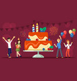birthday party with huge cake vector image