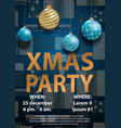 blue christmas party invitation card for your vector image vector image