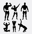 body builder man actio silhouette vector image