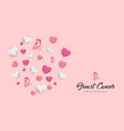 breast cancer care paper cut heart card for love vector image vector image