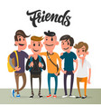 cartoon guys five best friends student vector image
