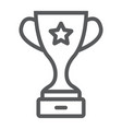 champion cup award line icon trophy and winner vector image