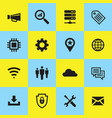computer network icon set internet concept sign vector image vector image