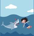 cute flat shark open mouth with girl diving vector image vector image