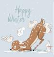 cute winter deer with hares vector image