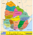 detailed map of uruguay with regions vector image vector image