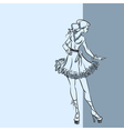 Fashionable woman in short dress vector image vector image