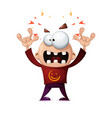 funny cute crazy cartoon rock man vector image vector image