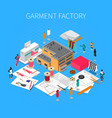 garment factory isometric concept vector image vector image