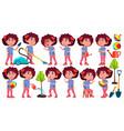 girl kindergarten kid poses set preschool vector image vector image