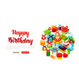 happy birthday lettering banner vector image vector image