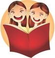Happy Children reading a book vector image vector image