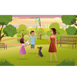 happy mother playing with kids in city park vector image
