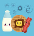 kawaii breakfast food design vector image vector image